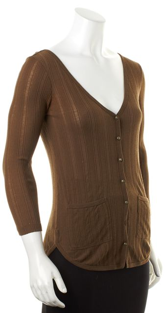 MARC BY MARC JACOBS Brown Ribbed Knit Long Sleeve Cardigan