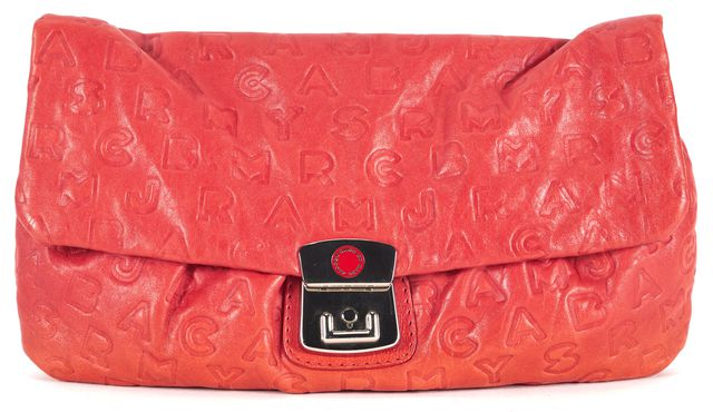 MARC BY MARC JACOBS Blood Orange Logo Embossed Leather Clutch Bag