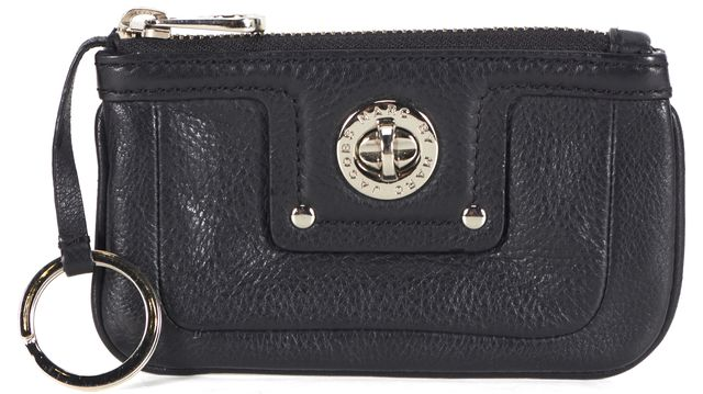 MARC BY MARC JACOBS Black Leather Silver-Tone Hardware Coin Purse