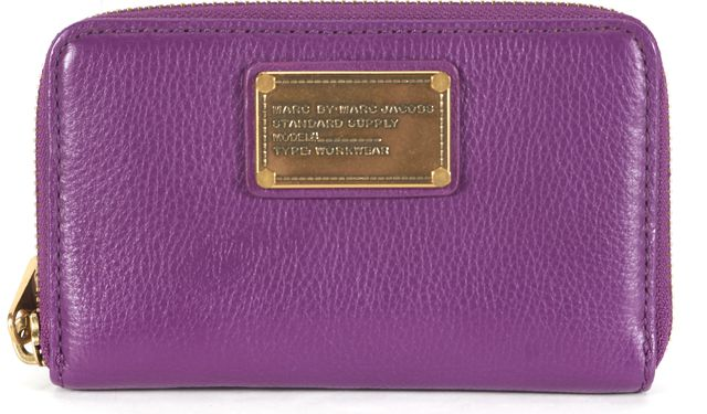 MARC BY MARC JACOBS Purple Leather Bronze Hardware Wallet Wristlet