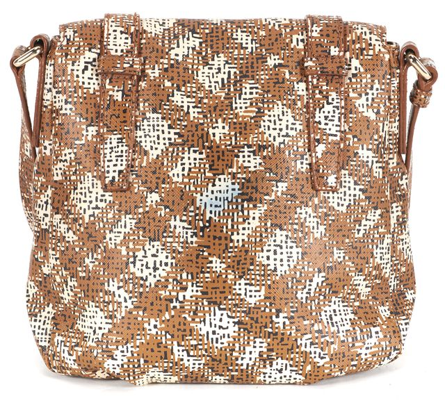 MARC BY MARC JACOBS Brown Ivory Leather Abstract Checker Print Crossbody Bag