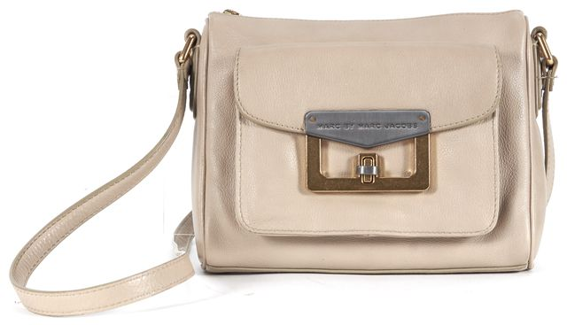 MARC BY MARC JACOBS Beige Leather Gold Silver-Tone Hardware Crossbody Bag