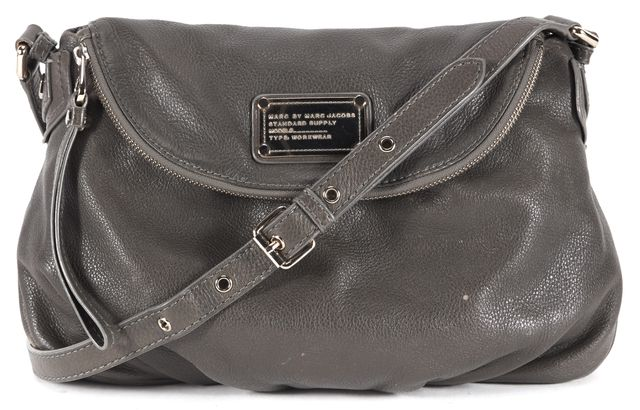 MARC BY MARC JACOBS Gray Pebbled Leather Shoulder Bag