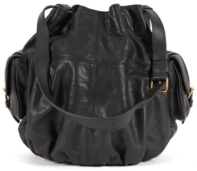 MARC BY MARC JACOBS Black Leather Drawstring Bucket Shoulder Bag