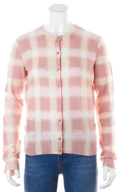 MARC BY MARC JACOBS Pink Ivory Tie Dye Check Cotton Knit Cardigan