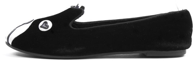 MARC BY MARC JACOBS Black Velvet Leather Trim Shorty Dog Loafer Flats