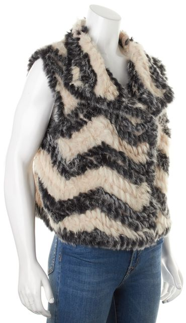 MARC BY MARC JACOBS Ivory Black Striped Wool Knit Rabbit Fur Vest