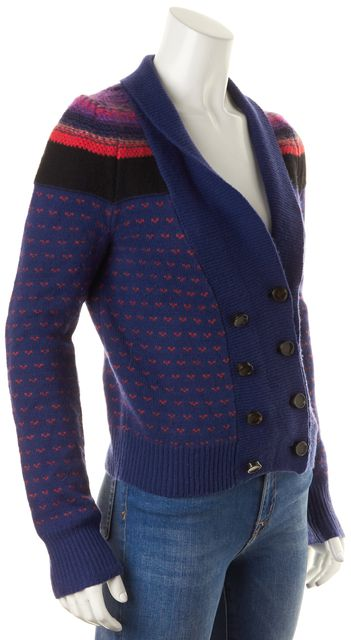 MARC BY MARC JACOBS Twilight Blue Red Geometric Wool Knit Cardigan