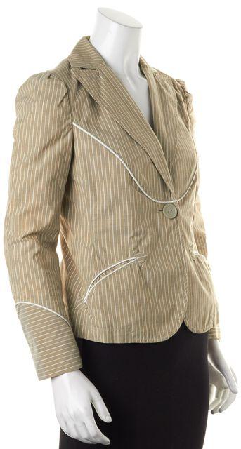 MARC BY MARC JACOBS Beige Metallic White Striped Single Button Blazer