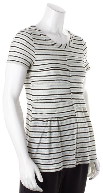 MARC BY MARC JACOBS Ivory Gray Black Striped Knit Top