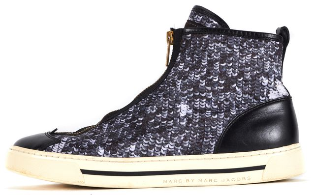 MARC BY MARC JACOBS Gray Sequin Print Gold Zip Up High-Top Sneakers