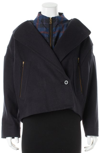 MARC BY MARC JACOBS Navy Blue Wool Plaid Layered Hooded Coat