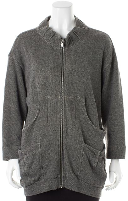 MARC BY MARC JACOBS Gray Cotton Zip Up Oversized Sweater Jacket
