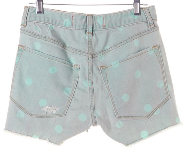 MARC BY MARC JACOBS Green Polka Dot Distressed Denim Shorts