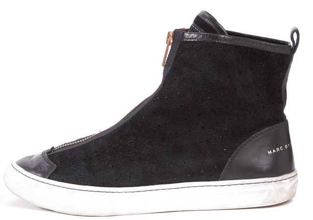 MARC BY MARC JACOBS Black Floral Laser Cut Suede High-Top Sneakers