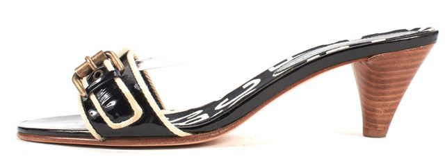 MARC BY MARC JACOBS Black White Patent Leather Slip-On Sandal Heels