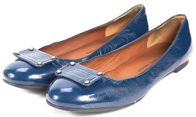 MARC BY MARC JACOBS Navy Blue Patent Leather Ballet Flats