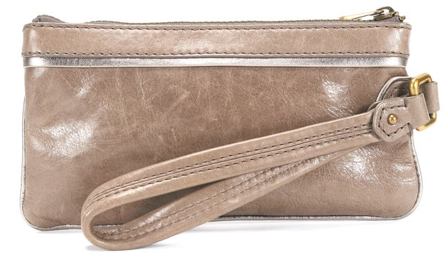 MARC BY MARC JACOBS Brown Jewel Embellished Leather Wristlet Clutch