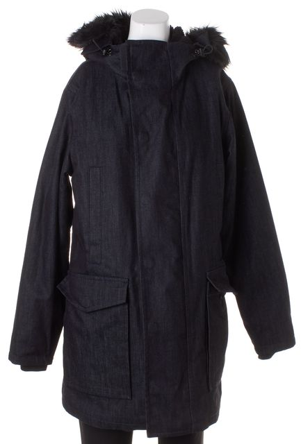 MARC BY MARC JACOBS Raw Indigo Faux Fur Collar Puffer Coat