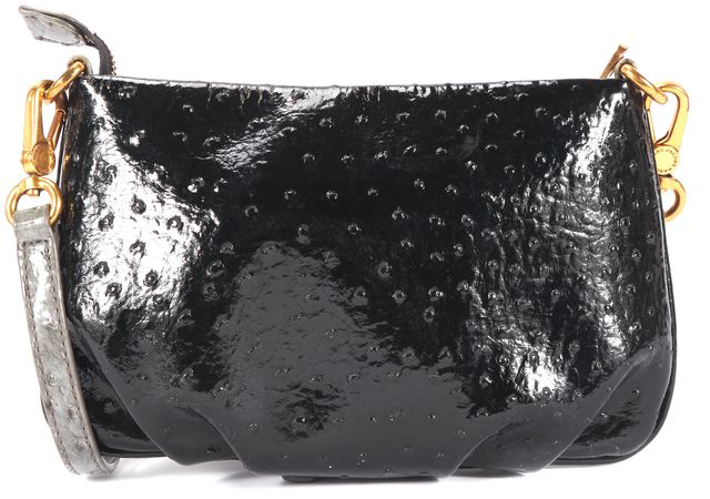 MARC BY MARC JACOBS Black Embossed PVC Gray Strap Crossbody Bag