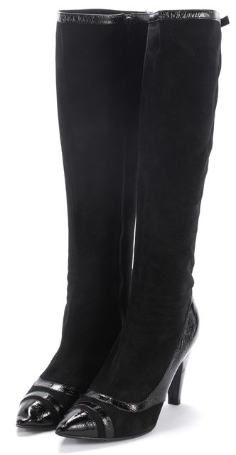 MARC BY MARC JACOBS Black Suede Patent Trim Knee-High Boots Size 7.5 IT
