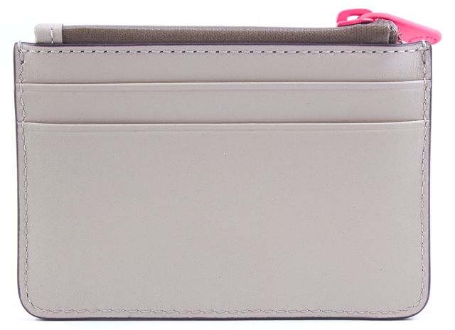 MARC BY MARC JACOBS Beige Neon Pink Leather Sophisticato Duo Lina Card Wallet