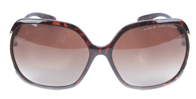 MARC BY MARC JACOBS Brown Rectangular Gold Hardware Polarized Sunglasses
