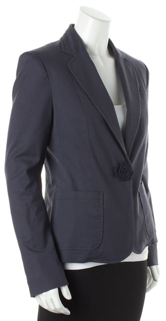 MARC BY MARC JACOBS Navy Blue Long Sleeve Rose Embellished Button Blazer
