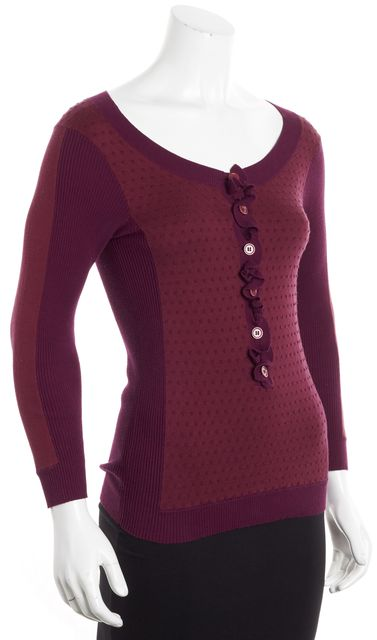 MARC BY MARC JACOBS Purple Abstract Scoop Neck Ruffle Front Sweater