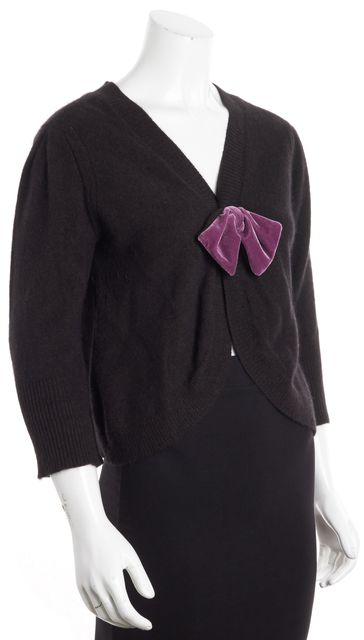 MARC BY MARC JACOBS Black Angora Lambs Wool Velvet Bow Cardigan Sweater