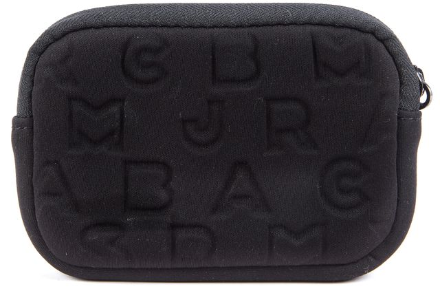 MARC BY MARC JACOBS Black Brand Embossed Leather Strapped Full Zip Wristlet