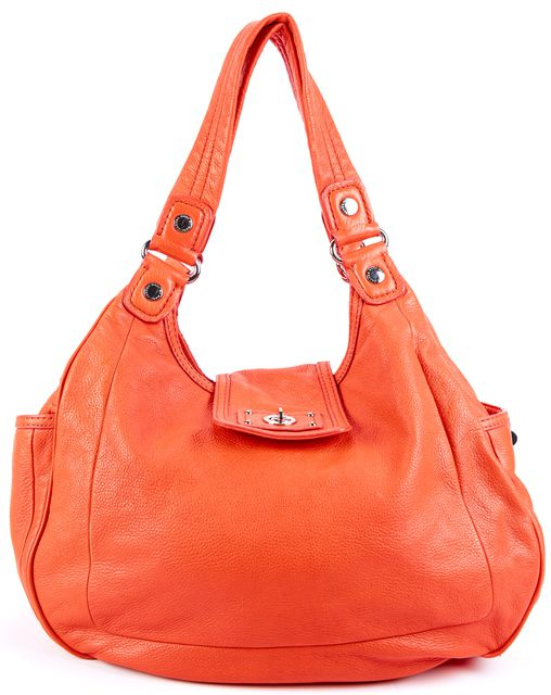 MARC BY MARC JACOBS Orange Silver Stud Embellished Flap Closure Leather Satchel