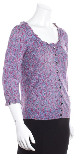 MARC BY MARC JACOBS Purple Pink Aqua Blue Floral Ruffle Cardigan Sweater