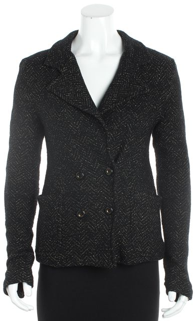 MARC BY MARC JACOBS Black Metallic Gold Wool Blend Basic Jacket