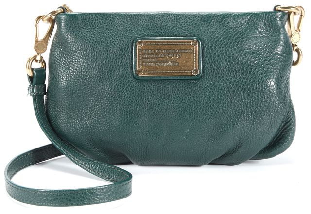 MARC BY MARC JACOBS Forest Green Branded Gold Hardware Leather Crossbody Clutch