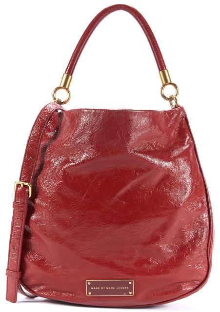 MARC BY MARC JACOBS Red Textured Patent Leather Crossbody Shoulder Bag