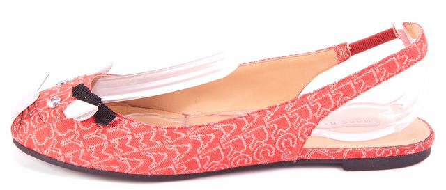MARC BY MARC JACOBS Red Mouse Embellished Toe Slingback Flats Size 35.5 US 5.5