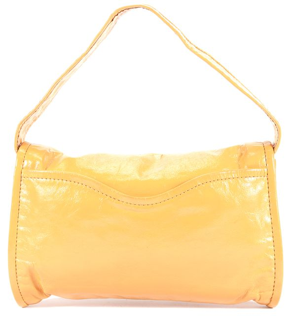 MARC BY MARC JACOBS Yellow Textured Patent Leather Detachable Strap Large Clutch