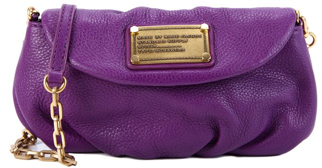 MARC BY MARC JACOBS Purple Leather Gold Hardware Small Clutch/Crossbody
