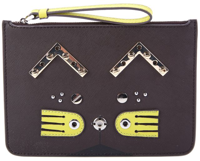 MARC BY MARC JACOBS Brown Green Kitty Leather Clutch Wristlet