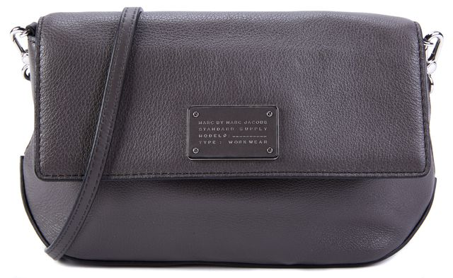 MARC BY MARC JACOBS Dark Gray Leather Mini Crossbody
