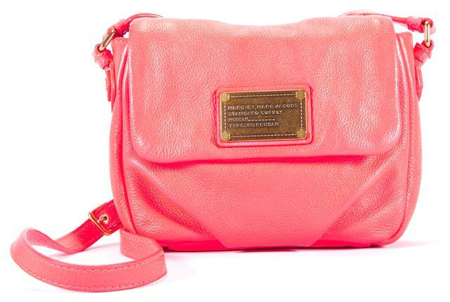 MARC BY MARC JACOBS Bright Pink Leather Mini Crossbody Handbag