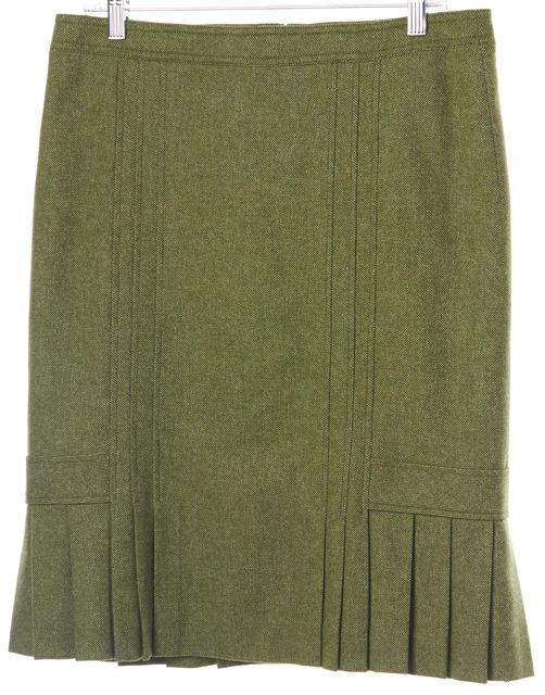 MAX MARA WEEKEND Olive Green Tweed Wool Pleated Bottom Straight Skirt