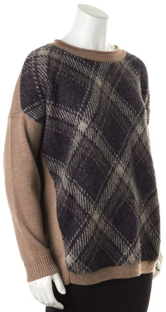 MAX MARA WEEKEND Brown Plaid Front Wool Knit Relaxed Fit Crewneck Sweater