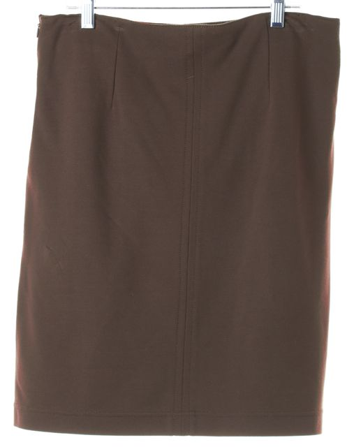 MAX MARA WEEKEND Brown Leather Front Jersey Back Pencil Skirt