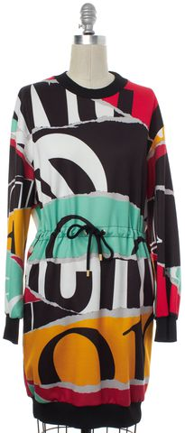 MOSCHINO COUTURE Black Multi Text Print Drawstring Dress