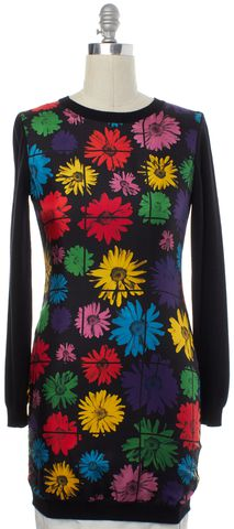 MOSCHINO COUTURE Black Floral Silk Wool Sheath Dress