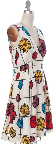 MOSCHINO COUTURE Ivory Floral Grid Wool Fit Flare Dress