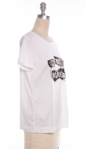 MOSCHINO Limited Edition Punk:Chaos To Couture White Graphic Basic Tee Top