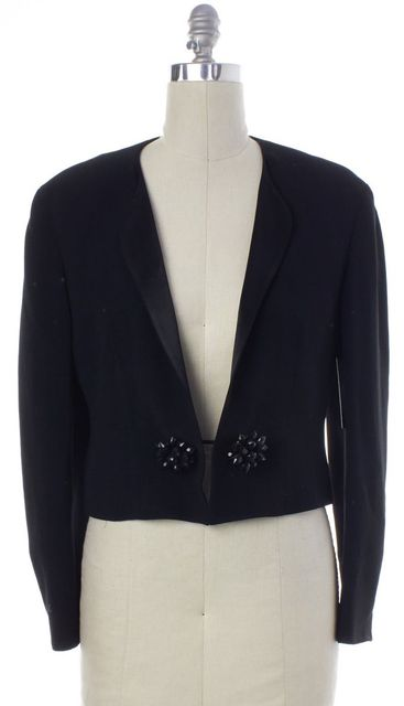 MOSCHINO Black Bead Button Embellished Cropped Blazer